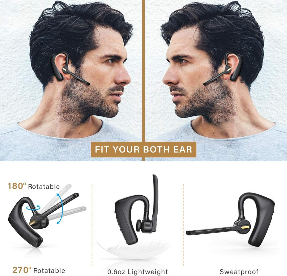 Bluetooth Headset  Wireless Bluetooth Earphones HD With CVC8.0 Dual-Mic Noise Reduction Function, Suitable For Smart Phones enlarge