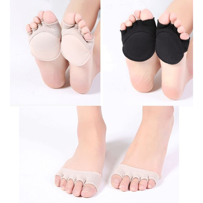Women Five-finger Open Toe Cushion Pad Half Foot Pads Summer Non-slip High Heels Flats Socks Pain Re
