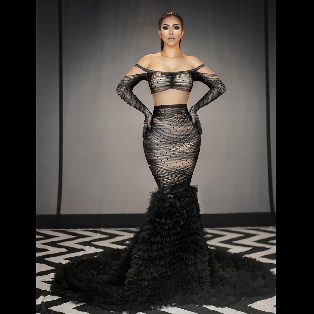فستان سهرة مثير بقصة حورية البحر ، طويل ، ياقة مائلة ، أكتاف عارية ، ضيق ، طول الأرض