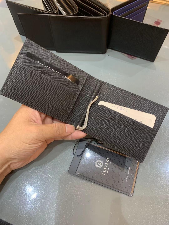 العلامة التجارية الفاخرة الرجال الجلود محفظة صغيرة سلسلة الكلاسيكية متعددة بطاقة موقف الموضة عادية لامعة محفظة جلدية LUYI XIII