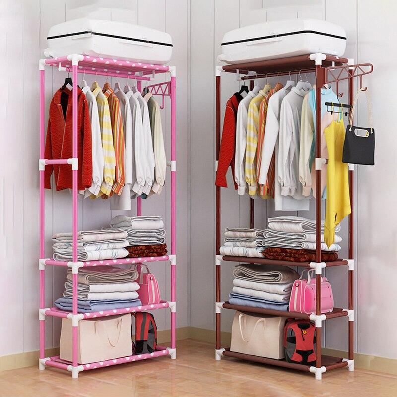Simple Houseware Freestanding Clothes Garment Organizer Closet European Standing Iron Clothing Hanger Storage Rack for Bedroom
