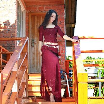 Traje de entrenamiento para mujeres para danza del vientre traje de entrenamiento de otoño e invierno trajes de danza oriental delgados actuación 2 piezas falda conjunto