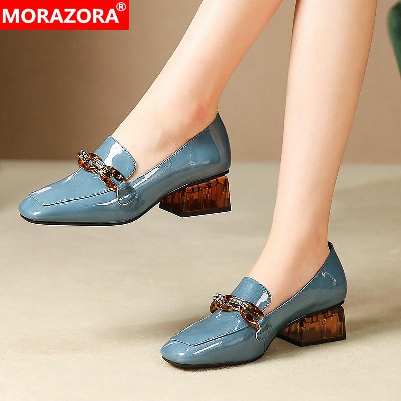 ¡Novedad de primavera-verano 2020! Zapatos de tacón de mujer de MORAZORA, zapatos informales de punta cuadrada a la moda en negro y azul, zapatos de piel auténtica para mujer
