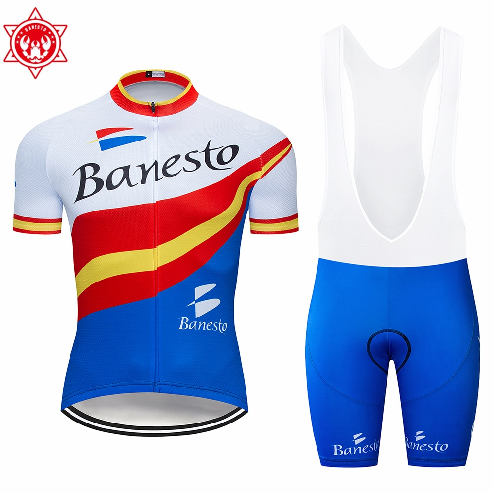 Banesto 2020 New Summer Cycling Jersey Set Breathable Team Racing Sports Bicycle Jersey Men'S Cycling Clothes Short Bike Jersey