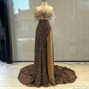 2020 Couture Long Prom Dresses Sequins Feathers Sweep Train Formal Evening Gown Turkey Arabic Women Birthday Pageant Dress