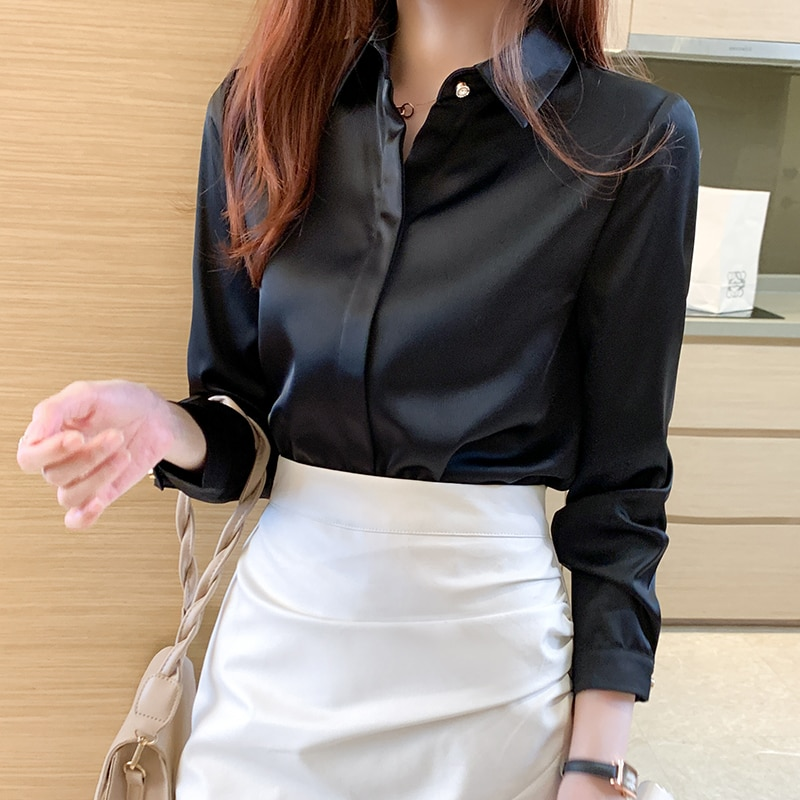 Shirts Women Long Sleeve Shirts Blouses for Women Satin Clothing Shirt Office Lady Solid Color Satin Shirt Blouse Tops Plus Size