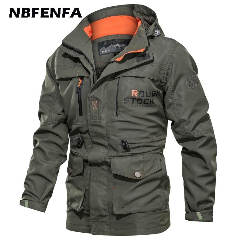 Мужская куртка в стиле милитари, куртка-бомбер, ветровка, флисовая мужская одежда с капюшоном, уличная спортивная верхняя одежда, Зимняя муж...
