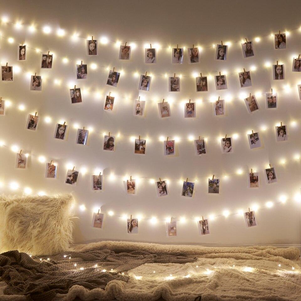 Guirnalda Led 2M 5M 10M USB luces LED Navidad hadas luz para foto Clip cadena luces alimentado por batería al aire libre boda