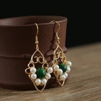 green purple natural fresh water pearl drop earrings for women gifts retro dangle earrings charm fashion jewelry
