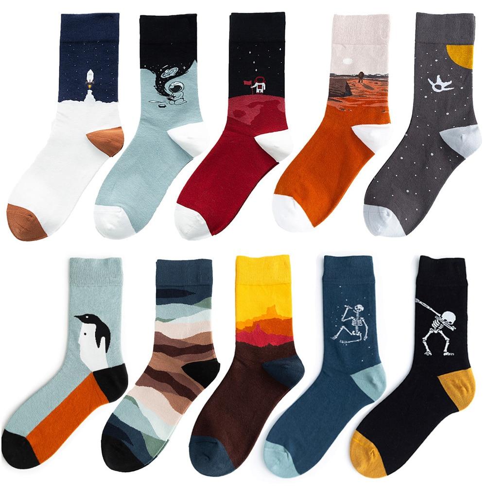5 Pair/Pack Streetwear Men Socks Cotton Crew Designer Socks Men Unisex Size 37-44 Free Shipping