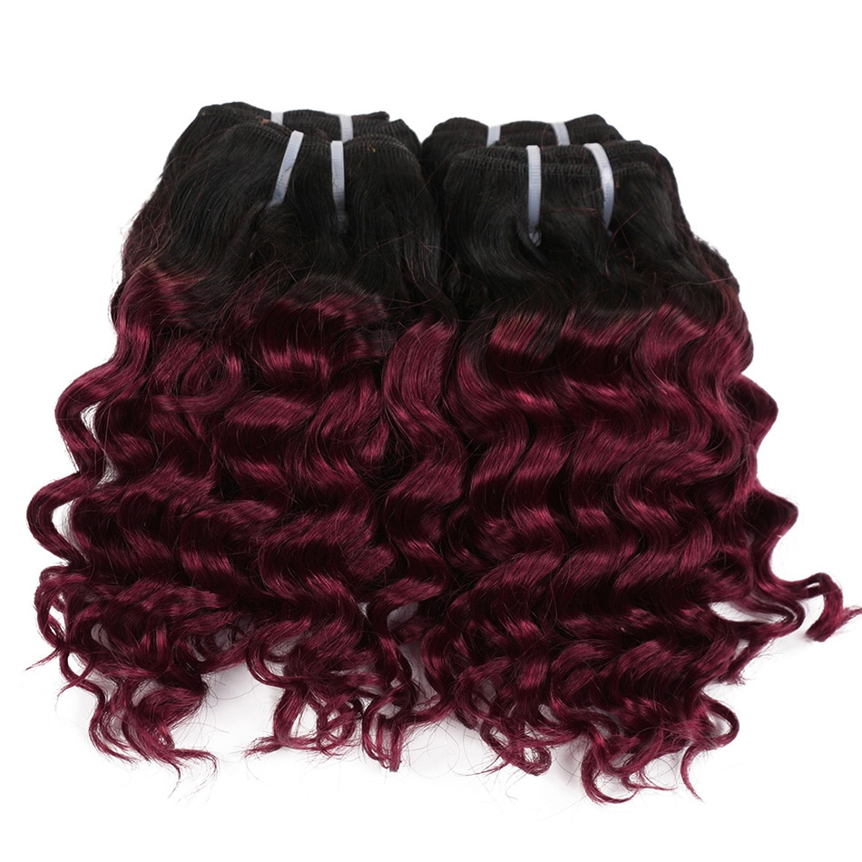 Real Beauty Deep Wave Ombre 1B/27 Remy fasci di capelli umani 50g bicolore miele biondo 8 tessuto brasiliano per capelli stile Bob corto