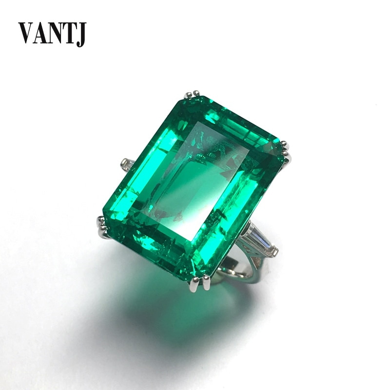 VANTJ Big Stone 20Ct Lab Grown Emerald Rings Real 10K Gold Created Emerald Moissanite Fine Jewelry Women Party Wedding Gift