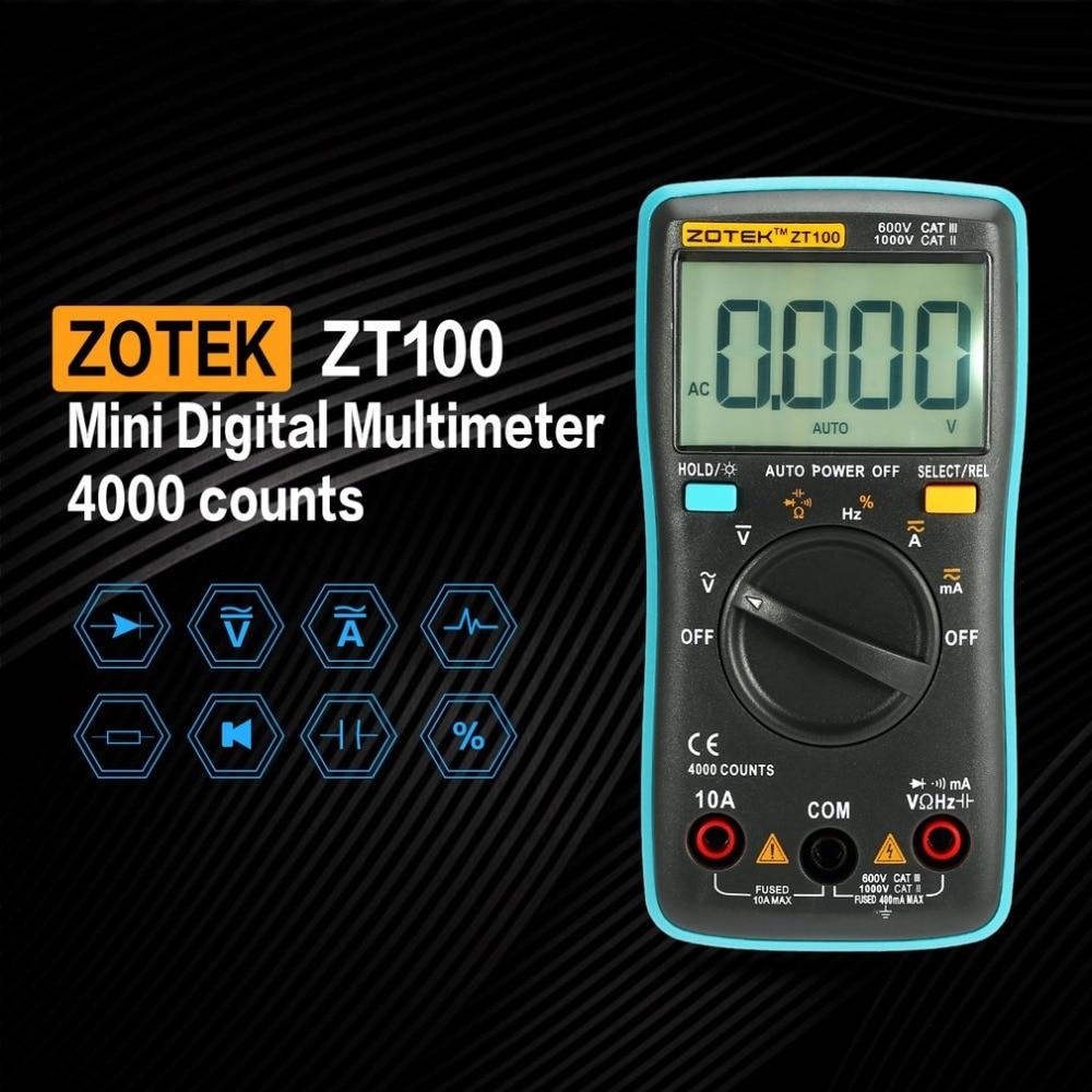 ZOTEK ZT100 Мини автоматический Диапазон Цифровой мультиметр 4000 отсчетов AC DC Амперметр Вольтметр 550 в защита от перегрузки ЖК-подсветка