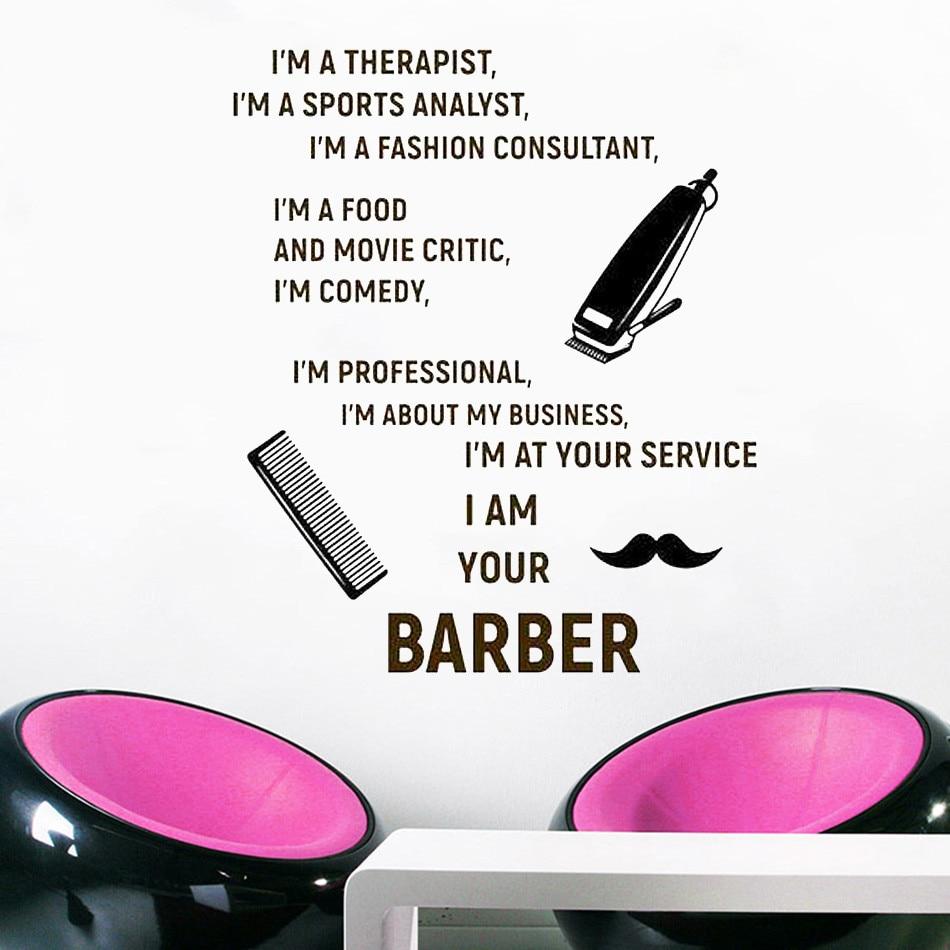 Barbershop decalque da parede motivacional hj1152 citações adesivo de parede vinil removível poster arte mural