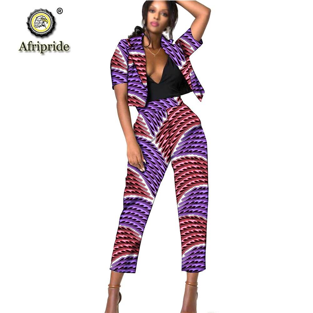 ملابس أفريقية أفريبرايد 2019 للسيدات مطبوعة Dashiki بلوزات وسراويل قصيرة فستان نوركور/مينيمالي للنساء S1926009