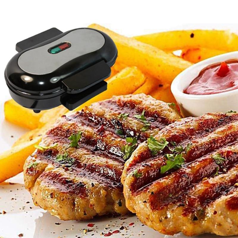 Inicio Mini Panini máquina de sándwich 220V eléctrica parrilla hamburguesa fabricante filete sartén de carne olla para huevos 750W enchufe de la UE