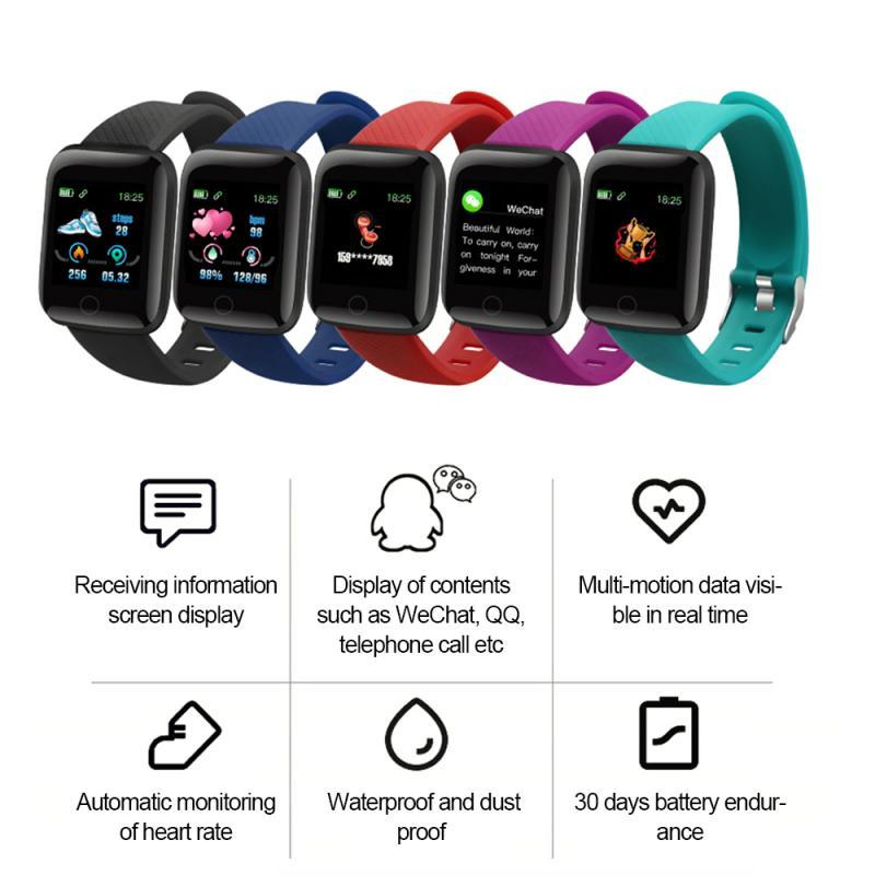 116plus 1,3 zoll große display Smart Uhr Bluetooth 4,2 Herzfrequenz Blutdruck Fitness Tracker Schrittzähler smart armband