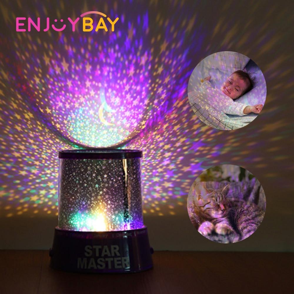 Детские светящиеся в темноте вечерние игрушки звездное небо LED вращающийся ночной Светильник Star Master Baby Sleep Романтические Светодиодные ламп...