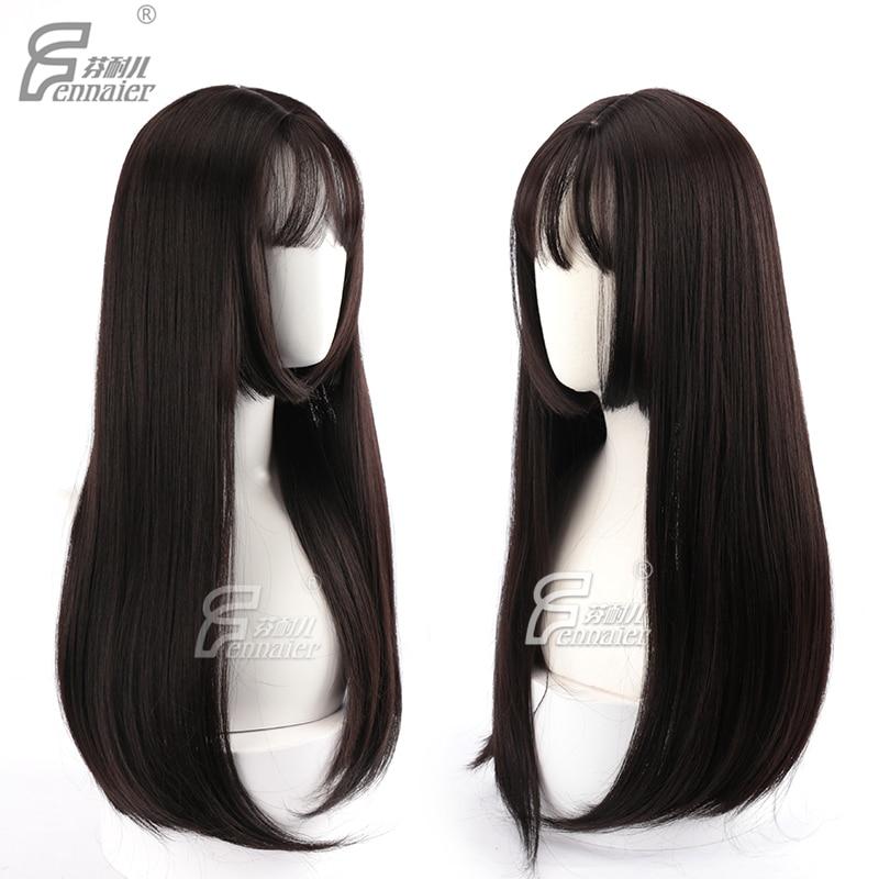 Estilo japonés mujeres Lolita negro Sraight peluca marrón oscuro estilo corte de pelo