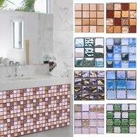 Autocollants muraux en mosaique  etiquette auto-adhesive  etanche  carreaux de simulation  decorations de cuisine  salle de bain  bricolage  10x10 cm  10 pieces