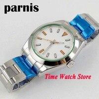 Parnis 40mm MIYOTA 8215 Automatic Men's watch sapphire glass white strile dial orange lighting waterproof SS bracelet  11