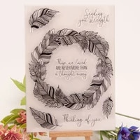 feather circle clear stamps for diy scrapbooking card transparent rubber stamps handmade making album photo crafts new stamps