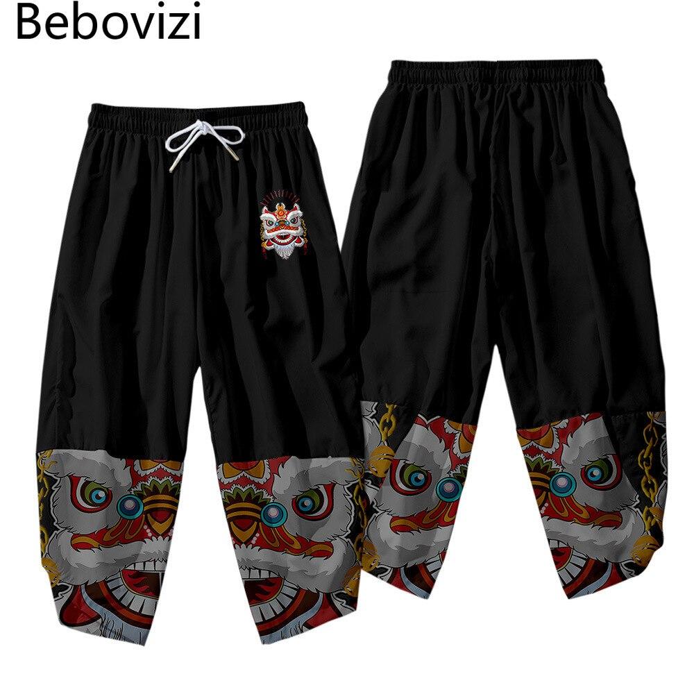 Брюки-султанки мужские с поясом на резинке в японском стиле