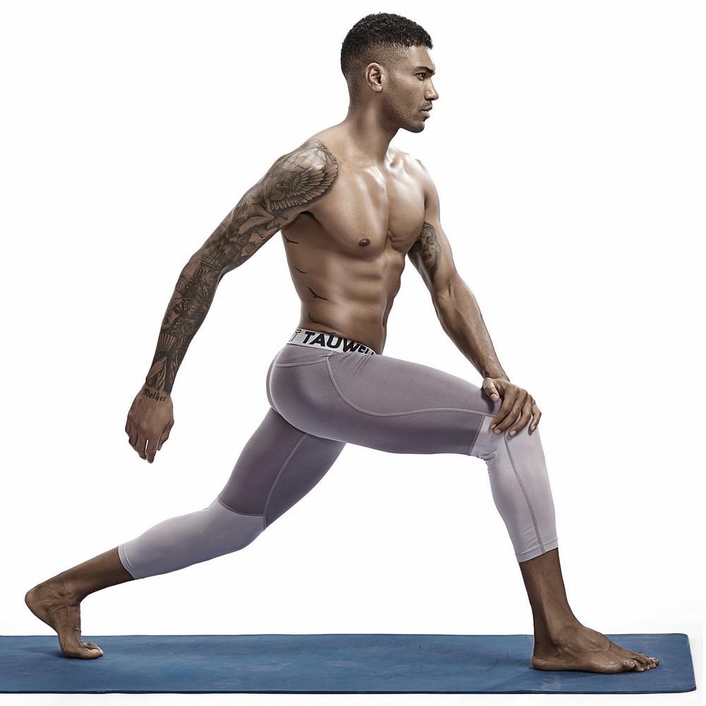 3/4 Leggings de compresión hombres Fitness ropa deportiva hombre entrenamiento correr rápido seco de malla de gimnasio de entrenamiento Legging