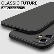 Coque De luxe Original bord Carré De Silicone Liquide Souple Pour iPhone 12 11 Pro XS Max iPhone 12 mini x xr 7 8 Plus se 2020 Couverture arrière
