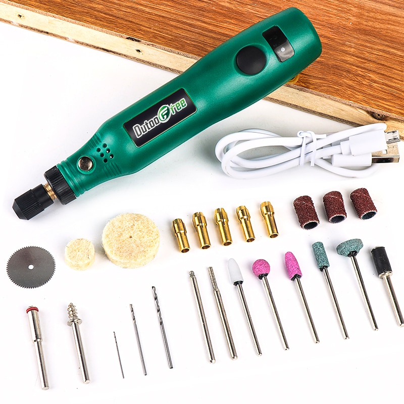 Vezeték nélküli forgó szerszám USB famegmunkáló gravírozó toll DIY ékszerek, fém és üveg vezeték nélküli fúró mini elektromos fúrógéphez