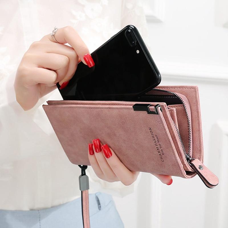 Женские кошельки, модные дамские сумки на ремешке, длинная сумка для денег, кошелек на молнии для монет, визитница, клатч, женский кошелек, ...