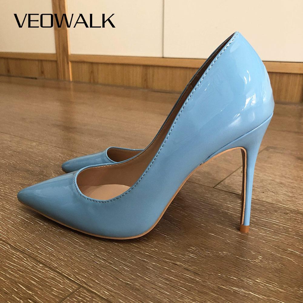 Veowalk-حذاء نسائي بكعب عالٍ من الجلد اللامع ، حذاء بكعب عالٍ للغاية ، مريح ، بلون أزرق فاتح