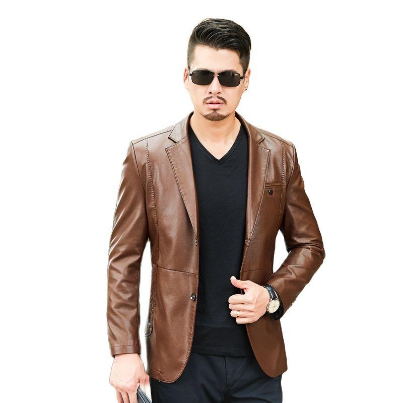 1811 جديد الموضة الرجال الملابس الربيع والخريف بدلة معطف طوق الرجال جلد الغنم معطف الذكور سترة جلدية معطف