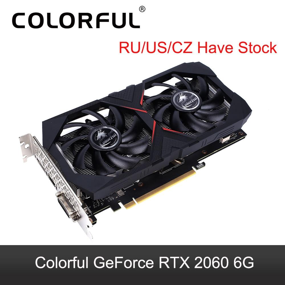 Colorido GeForce RTX 2060 Tarjeta Gráfica 6G GPU Nvidia GDDR6 TU106 1608MHZ RTX2060 tarjeta de vídeo 192 poco 8Pin PCI-E 3,0 HDMI puerto DVI