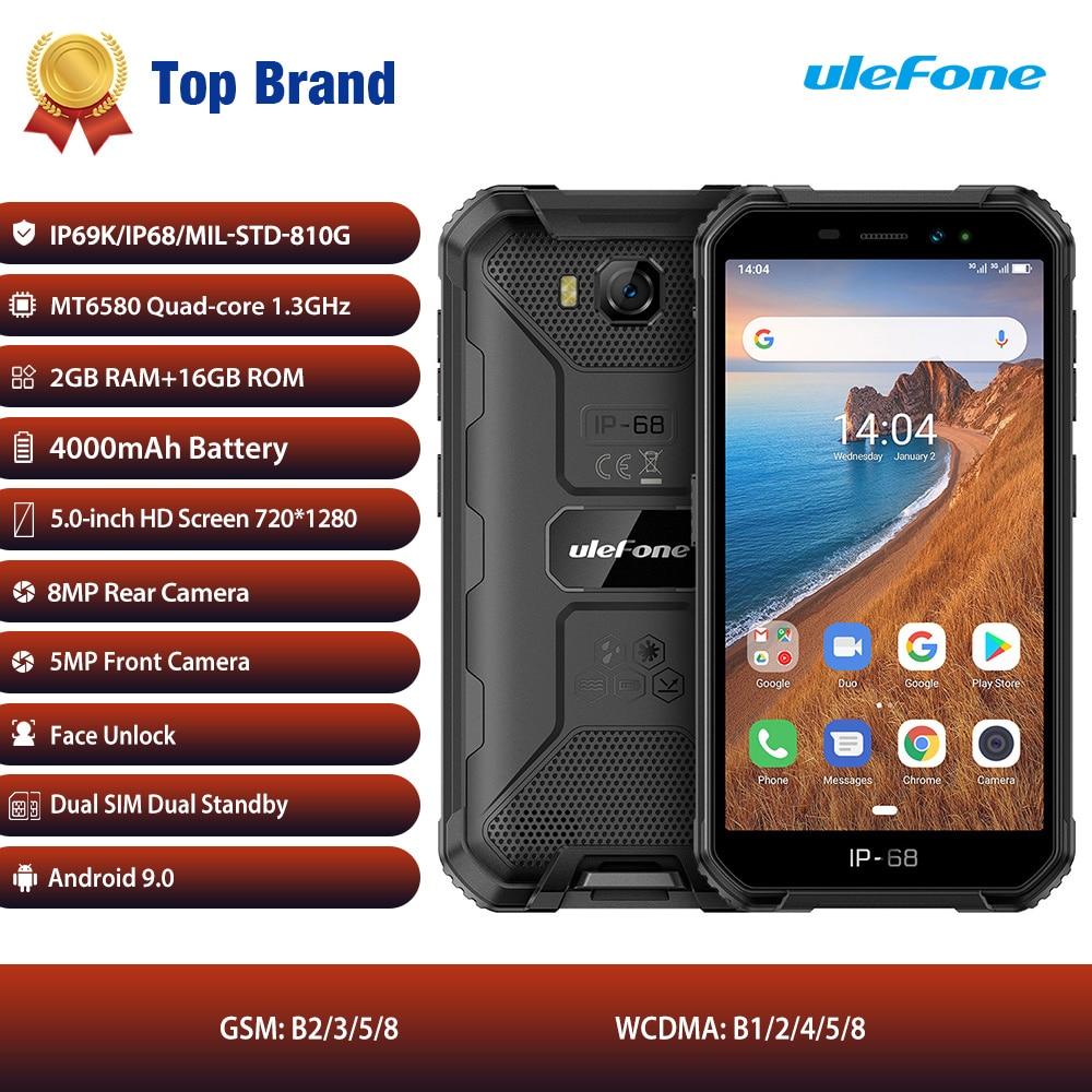 Ulefone Power X6 IP68 Водонепроницаемый смартфон MT6580 Quad core Android 9 распознавания лиц и 2 Гб оперативной памяти, 16 Гб встроенной памяти, 4000 мА/ч, 3G глобаль...