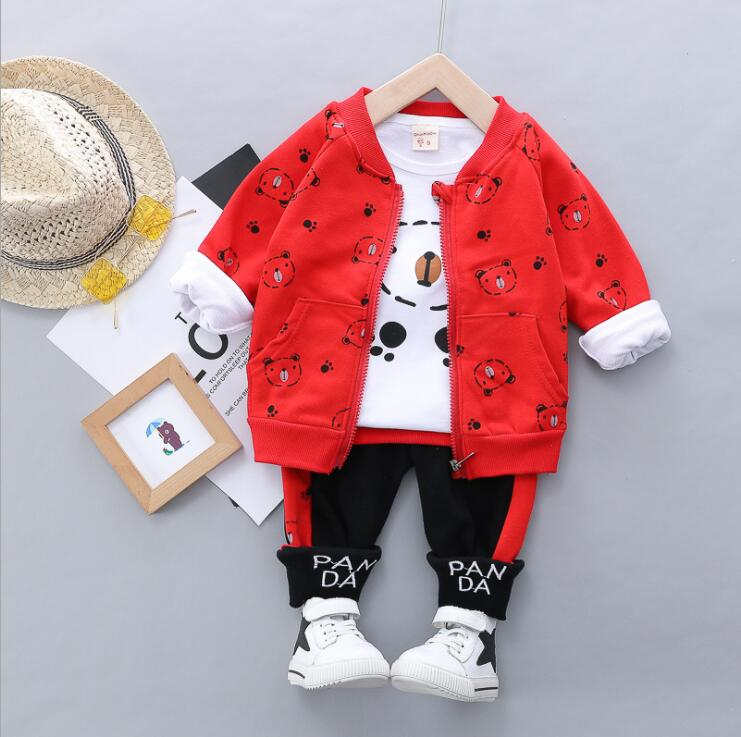Primavera outono crianças meninos meninas conjuntos de roupas de algodão bebê urso hoodies camiseta calças 3 pçs/sets moda criança treino