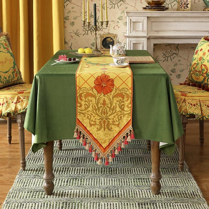 مفرش طاولة أصفر مخملي فاخر ، مفرش طاولة أوروبي بشرابة ، سميك ، مطبوع عليه أزهار ، غطاء قماش مقاوم للغبار