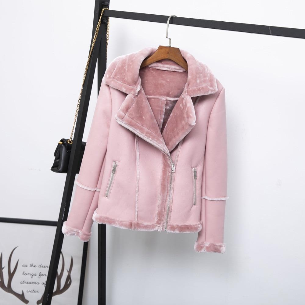Leather Jacket Women Furry Turn Down Collar Solid Slim Fleece Faux Leather Jacket Fashion Warm PU Leather Coat Moto Biker enlarge