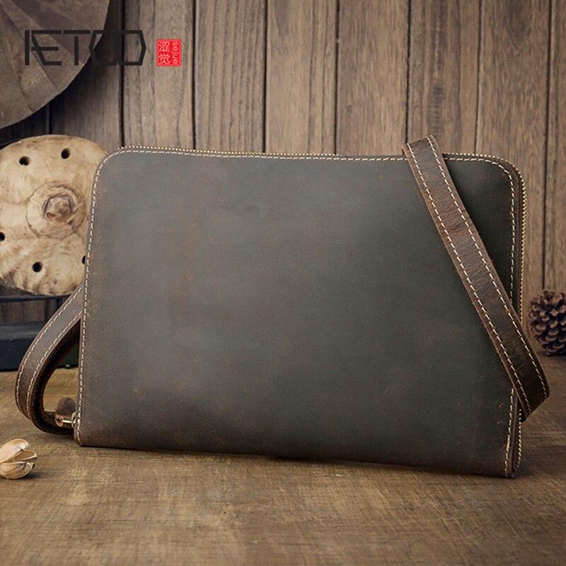 AETOO-حقيبة جلدية مصنوعة يدويًا على الطراز القديم ، حقيبة كتف رجالية ، بسيطة وغير رسمية