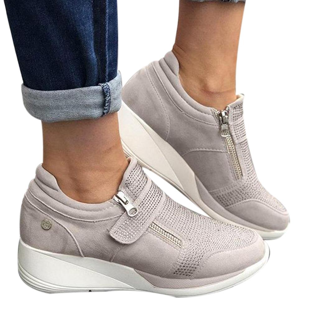Женская обувь, спортивная обувь, женская обувь на танкетке, Женская Вулканизированная обувь, дышащая удобная повседневная женская обувь