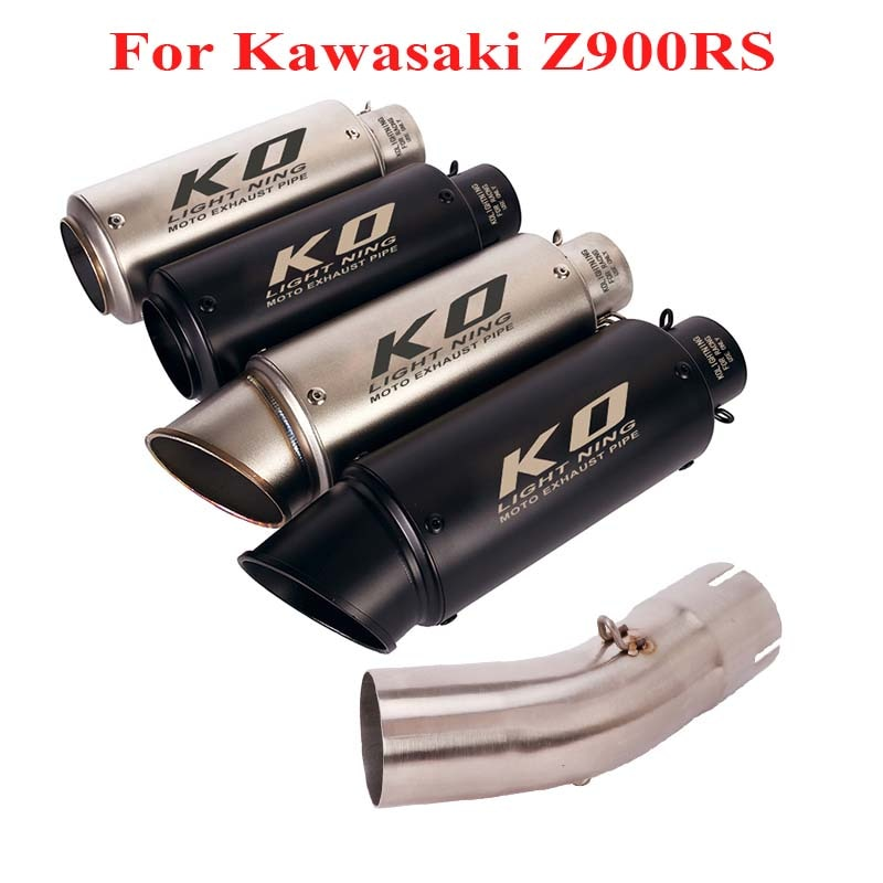 51mm Exhaust Muffler Escape Silencer Connect Link Tube Exhaust System for Kawasaki Z900 Slip on Tip