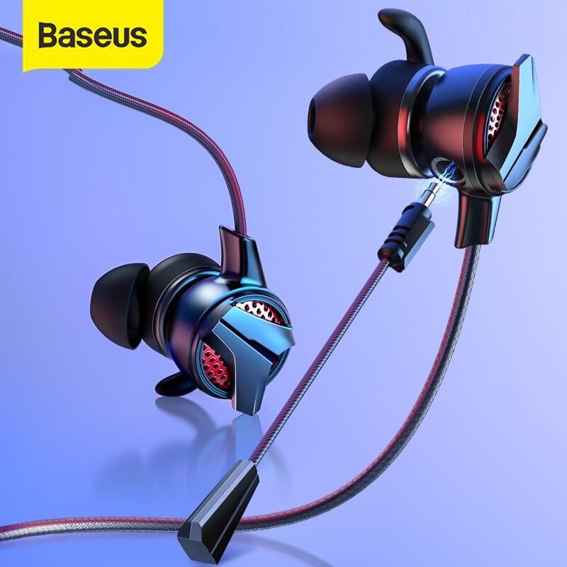 Baseus 3.5mm ב-אוזן משחקי אוזניות עבור Pubg בקר GAMO-15 3D סטריאו אוזניות עבור נייד pubg גיימר עם להסרה HD מיקרופון