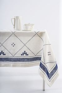 Linen Blue White Square Tablecloth handkerchief towel mat  table cloth Classic models for dining and wedding table decoration made with quality fabric Nordic style washable tea Linen& Polyester kitchen diner Party