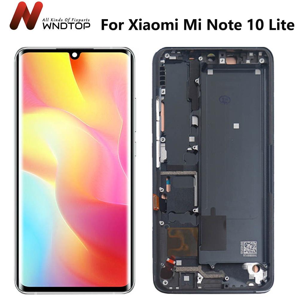 الأصلي AMOLED ل شاومي Mi نوت 10 لايت شاشة LCD ل Mi نوت 10 LCD M2002F4LG شاشة LCD تعمل باللمس محول الأرقام الجمعية