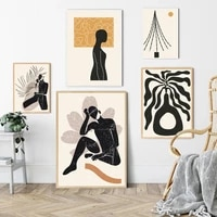 Matisse     peinture sur toile abstraite pour fille  ligne de corps  noir  Beige  Illustration minimaliste  affiche dart mural et impression  decor de maison nordique