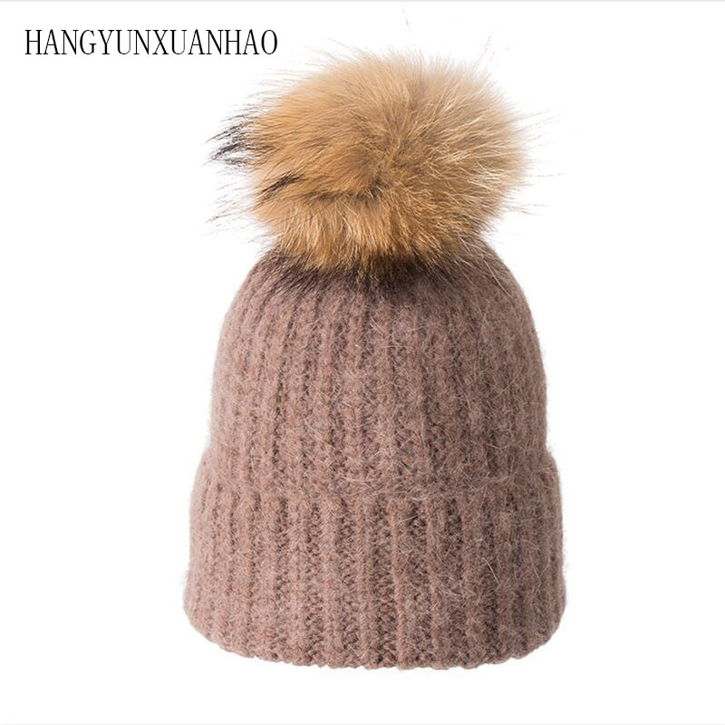 Winter Hat For Women Knitted Wool Lady Beanies Cap Natural Raccoon Fox Fur Pompom Hat Solid Color Female Casual Skullies