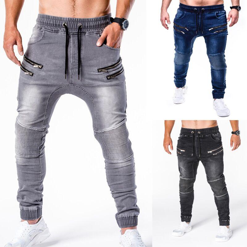 Новинка 2020, джинсовые брюки, мужские джинсы, повседневные стильные облегающие джинсы на молнии, мужские джоггеры