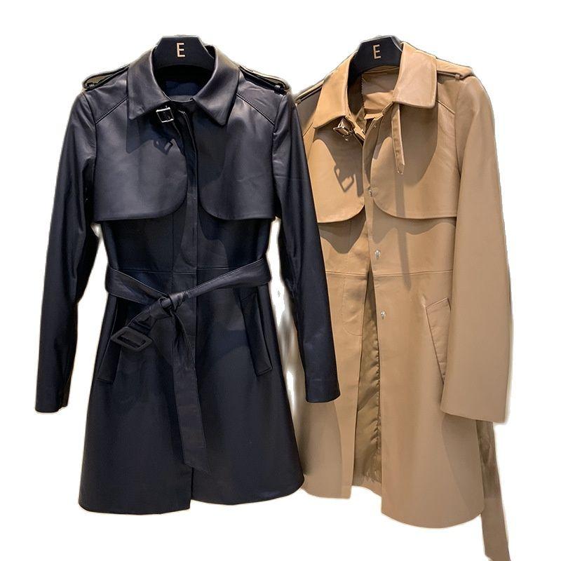 2021women Sheepskin leather coat women's windbreaker row buckle soft fabric long coat medium long leather coat motorcycle jacket