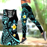 sea turtle polynesian 3d printed hollow out tank legging suit sexy yoga fitness soft legging summer women for girl 07