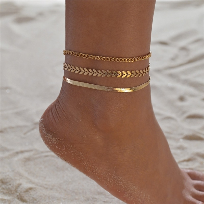 LETAPI 3pcs/set Gold Color Simple Chain Anklets For Women Beach Foot Jewelry Leg Chain Ankle Bracele